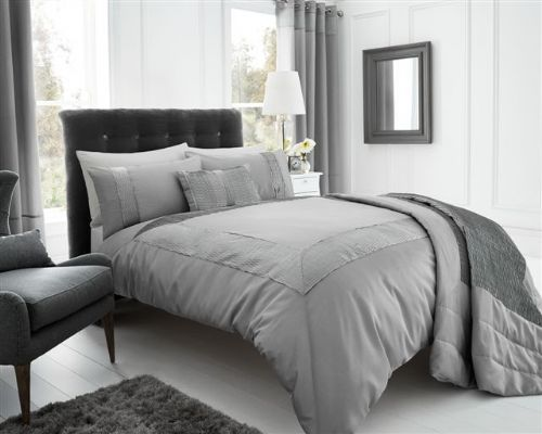 SILVER GREY STYLISH TEXTURED FAUX SILK DUVET COVER LUXURY BEAUTIFUL PINTUCK BEDDING